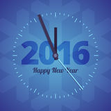 Happy New Year 2016 clock on a blue background Stock Photography
