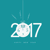 Happy new year 2017 with clock in blue illustration. Happy new year 2017 with clock in blue color illustration stock illustration