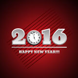 2016 Happy New Year with clock card Royalty Free Stock Photos