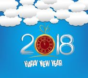 Happy new year 2018 with clock and cloud and sky background Stock Photography