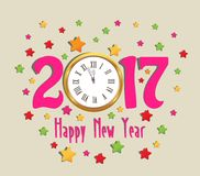 Happy new year 2017 clock and colorful.  Royalty Free Stock Photography