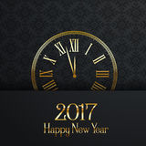 Happy New Year clock design. Happy New Year background with decorative clock stock illustration