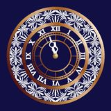 Happy new year. Clock face on dark blue background with 2019. Vector illustration stock illustration