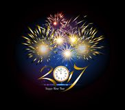 Happy New Year 2017 clock and Firework.  Stock Images