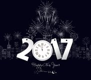 Happy new year 2017 with clock and fireworks.  Royalty Free Stock Photography