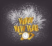 Happy New Year 2017 with clock and fireworks.  Royalty Free Stock Images