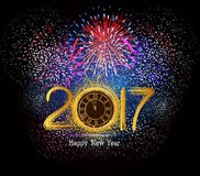 Happy New Year 2017 clock and Fireworks.  Royalty Free Stock Image