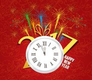 2017 Happy New Year with clock and fireworks background.  vector illustration