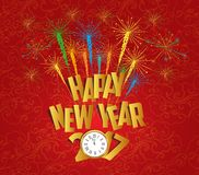 2017 Happy New Year with clock and fireworks background.  stock illustration