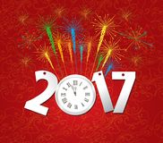2017 Happy New Year with clock and fireworks background.  Royalty Free Stock Photo