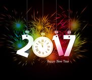 Happy New Year clock and Fireworks colorful.  Stock Image