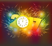 Happy New Year 2017 clock and Fireworks colorful.  Royalty Free Stock Image