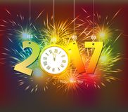Happy New Year 2017 clock and Fireworks colorful.  Royalty Free Stock Photography