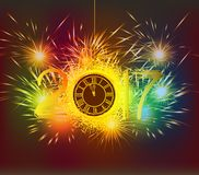 Happy New Year 2017 clock and Fireworks colorful.  Stock Images