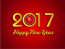 Happy new year 2017 with clock Stock Images