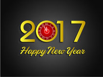 Happy new year 2017  with clock. Fireworks display for happy new year 2017 Stock Photography