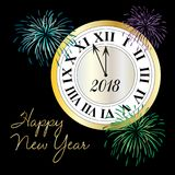 Happy new year clock with fireworks. Graphic stock illustration