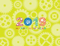 2019 Happy New Year Clock Gear Color vector Illustration. Happy New Year 2019 with Mechanical Gears and Clock Pattern Green Background vector Illustration stock illustration