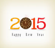 Happy new year with clock gold. Happy new year background and greeting card design stock illustration