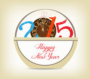 Happy new year 2015 with clock gold. Happy new year background and greeting card design Stock Photos