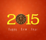 Happy new year clock gold. Happy new year background and greeting card design Stock Photos