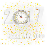 Happy New Year for 2017 with clock and golden confetti. Illustration of Happy New Year for 2017 with clock and golden confetti Stock Image