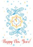 Happy new year clock. Happy new year greeting card or poster design. Vintage clock with scroll ornament on snowflakes and stars background stock illustration