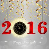 Happy New Year for 2016 with clock. Illustration of Happy New Year for 2016 with clock Royalty Free Stock Image