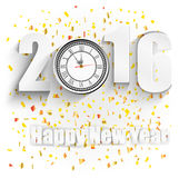 Happy New Year for 2016 with clock Stock Images