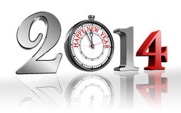 Happy new year 2014 clock. Metal and red. clipping path included Stock Images