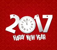 Happy new year 2017 clock. Oriental Chinese Background.  vector illustration
