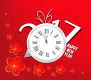 Happy new year 2017 clock. Oriental Chinese Background.  stock illustration