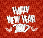Happy New Year 2017 clock and paper greeting card.  Stock Images