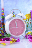 Happy New Year Clock and Party Decorations. Stock Photography