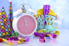 Happy New Year Clock and Party Decorations. Royalty Free Stock Image