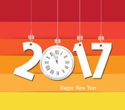 Happy new year 2017 clock. Seasons Greetings. Colorful design.  Stock Photo