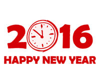 Happy new year 2016 with clock sign in red drawn banner. Holiday concept stock illustration