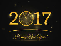 Happy New Year clock vector background. Happy New Year clock. Banner or poster for holiday. Shining clock vector illustration Stock Images