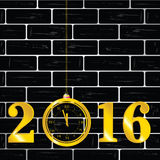 Happy new year 2016 with clock vector. On brick wall Royalty Free Stock Photos