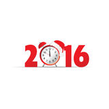 Happy new year 2016 clock vector. Happy new year 2016 clock red vector Royalty Free Stock Photography