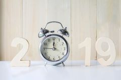 2019 Happy New Year with clock on white table background,Vintage. Tone,Copy space for your text stock photo