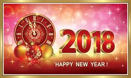 Postcard Happy New Year 2018. Happy New Year 2018 with clocks and balls in a frame on a red background royalty free illustration