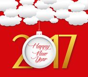 Happy new year 2017 cloud and cloud background.  Royalty Free Illustration