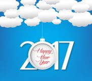 Happy new year 2017 cloud and sky background.  Stock Photos