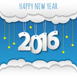 Happy new year 2016 cloud and sky background. Vector/illustration Royalty Free Stock Photos