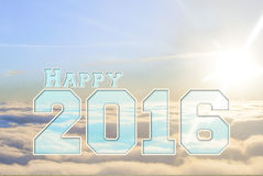 Happy new year 2016 clouds and sun. Royalty Free Stock Photo