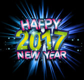 2017 Happy New Year Club Party Background for your Seasonal Dance Event. And Discoteque Poster or Christmas Related music fest Stock Photo
