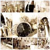 Happy new year collage. New year collage. Clock, champagne, candle, golden balls and ribbon in white background and old light - collage or collection - old style Stock Photo