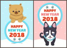 Happy New Year 2018 Collection Vector Illustration. Happy New Year 2018, collection of banners, titles with icon of traces left by paws, dogs and puppy with royalty free illustration