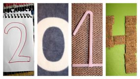 Happy New Year - 2014. Collection of four individual images making up the figure 2014 - signifying the new year Stock Images
